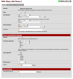 PFSense IPSec Configuration